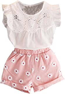 Fabal Toddler Kids Baby Girls Outfits Clothes T-Shirt Vest Tops+Shorts Pants 2PCS Set