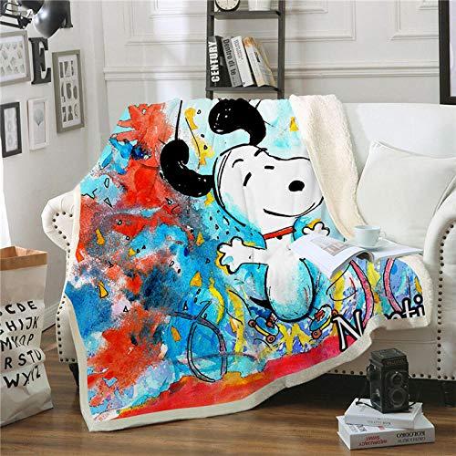 BLAMARIA Tagesdecken Niedlichen Cartoon Snoopy Octopus Gedruckt Sherpa Weichem Plüsch Decke Kinder Warme Couch Reise Camping Große Decke (D) 150 * 200 cm