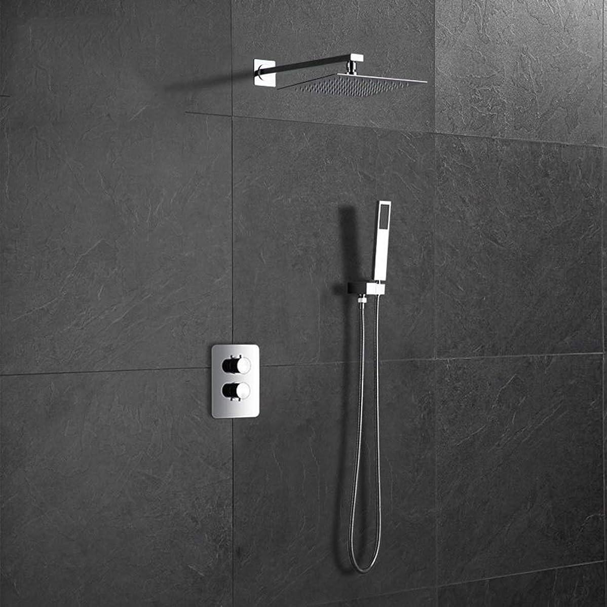 想像する忘れられない対象ZYL-YL ホテルホーム隠さシャワーウォールシャワーホット&コールドシャワーセットクローム銅のハンドシャワーシステム2機能広場トップ固定シャワーヘッドスプレー
