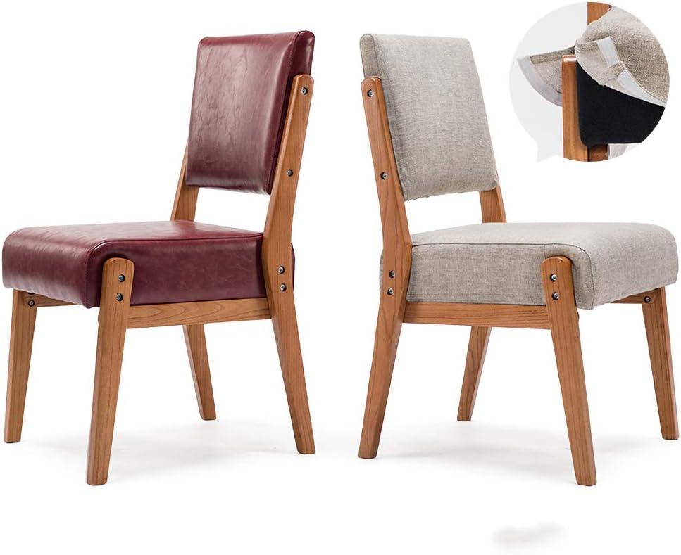 JHZY Fauteuil de loisir Table et chaise rétro en bois massif PU Chaise de salle à manger chaise de bureau d'hôtel restaurant (couleur : A15) A14