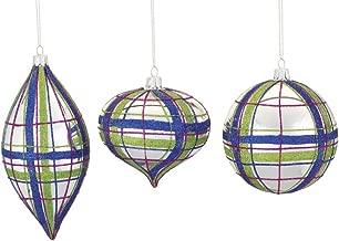 Preppy Plaid Glass Christmas Tree Ornaments, Set/3 Assorted