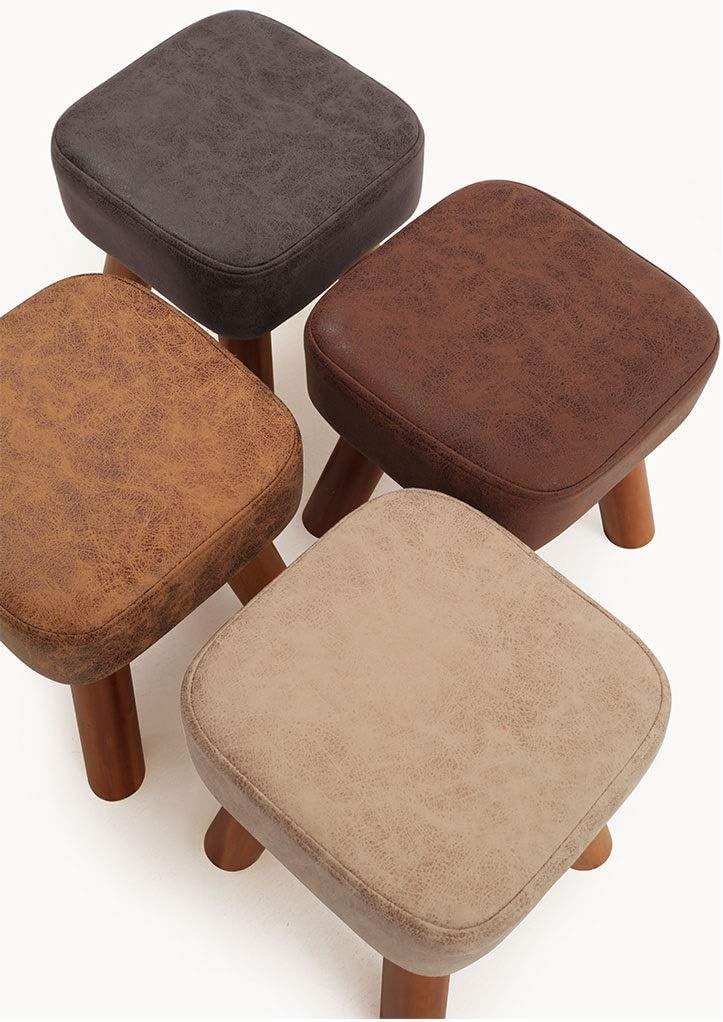WRZH Tabouret en bois massif for loisirs confortable for enfants, chaise carrée, changement de tabouret de ménage (Color : Gray) White