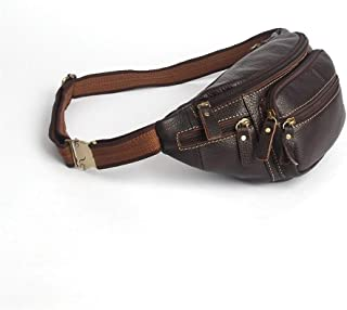 The Man Cuts Cowhide Man Bag Multi-Pocket Waist Pack Casual Chest Pack Genuine Leather Small Bag (Color : Brown, Size : S)