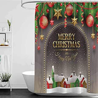 Shower Curtains Gray and Blue Merry Christmas Decoration,Christmas Gold Classic Rustic Design Season Greetings Golden Christmas Letters Village Ornament,Multi W69 x L90,Shower Curtain for Women