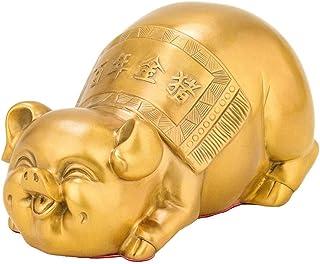 Pure Copper Gold Pig Sculpture, Brass Pig Statue, Study Desktop Collection, Home Lucky Decoration, Feng Shui Decoration, W...