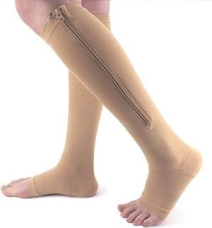 Ailaka Zipper - Calcetines médicos de compresión para mujeres y hombres, hasta la rodilla y con apertura en los dedos de los pies, ofrece firmeza de apoyo y graduación para venas varicosas. Calcetines para edemas, hinchazones, enfermeras, embarazadas y recuperación.