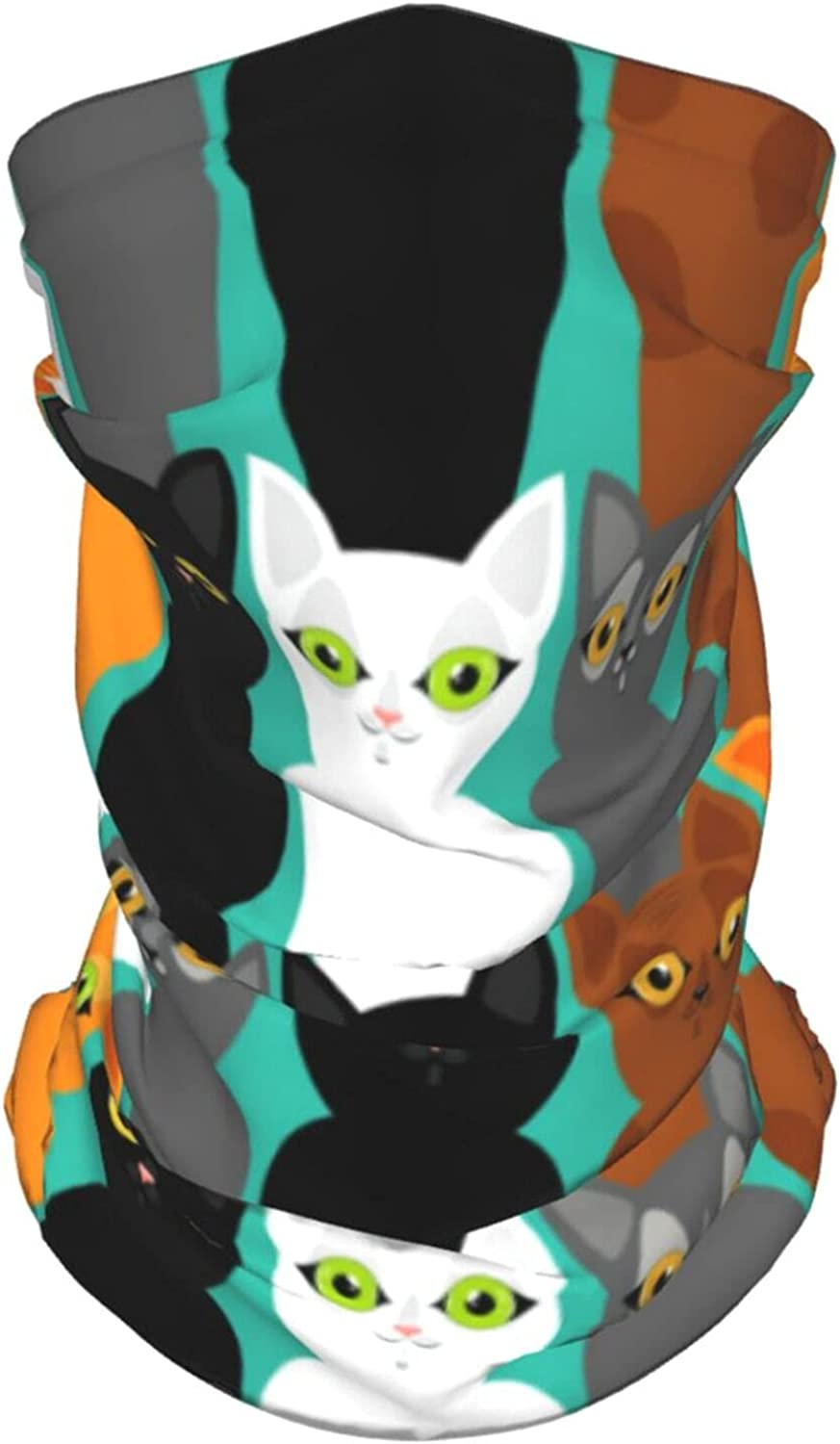 Cute Cats Colorful Summer Ice Silk Breathable Face Mask Neck Gaiter Scarf Bandanas for Fishing,Hiking,Running,Motorcycle and Daily Wear