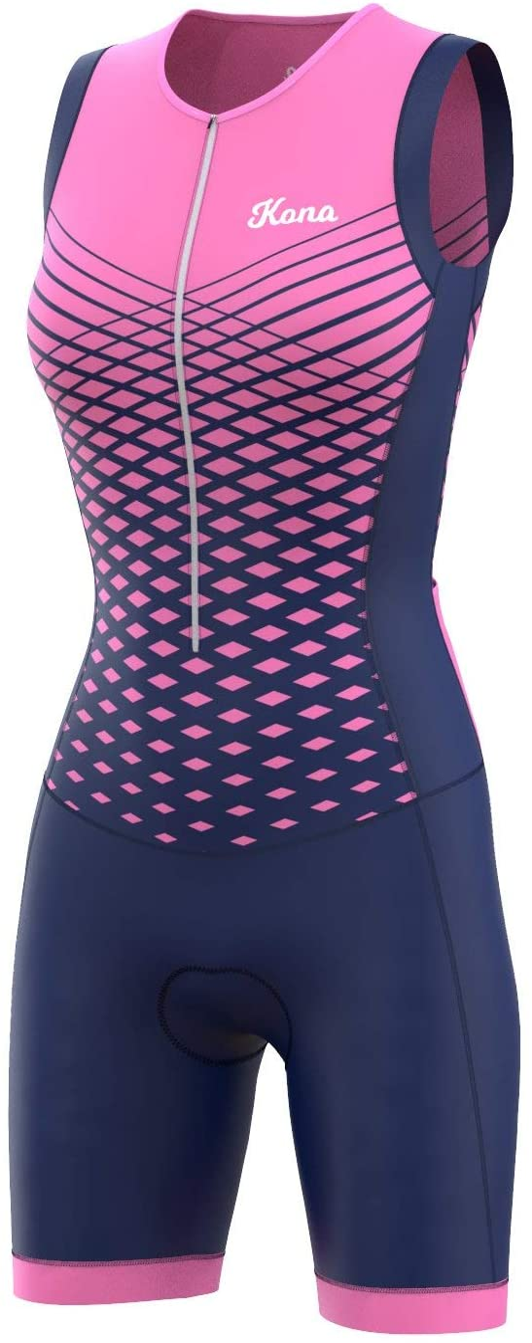Kona Men/'s Triathlon Race Suit Speedsuit Skinsuit Trisuit Sleeveless One-Piece Vest and Short Combo That Half zips with a Rear Pocket for Storage