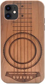 iPhone 11 Wood Case 2019, Guitar Music Theme Handmade Carving Real Wood Case Wooden Case Cover with Soft TPU Back for iPhone 11 (6.1 inch)
