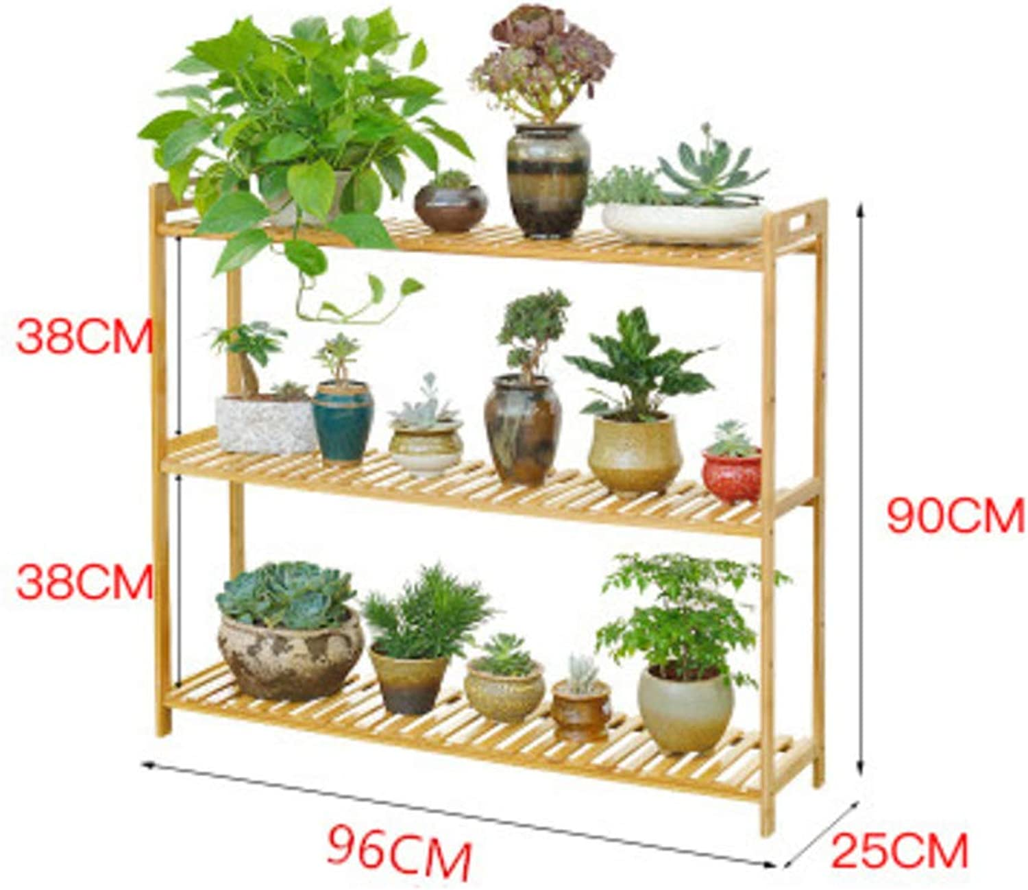 Multi-Layer Floor Flower pots Shelves Plant Display Stand, Living Room Balcony Simple Wooden Storage Rack Holder-D