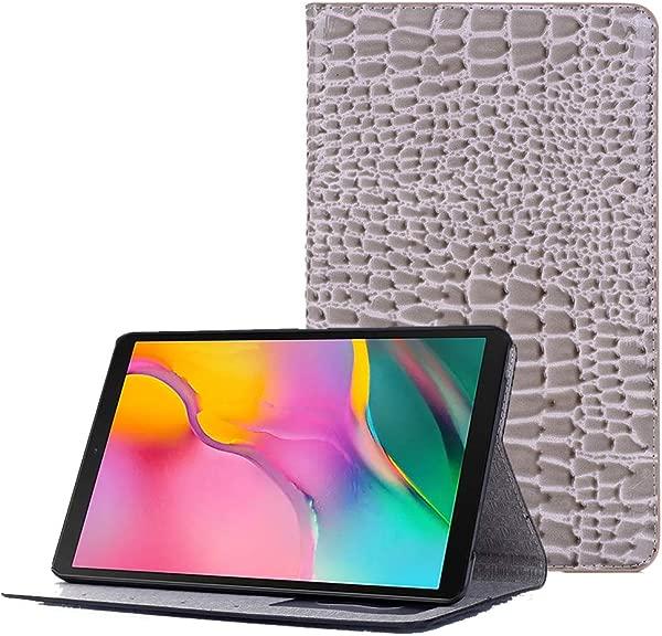 Galaxy Tab A 8 0 2019 型号 SM T290 T295 支架对开书盒保护套鳄鱼纹 PU 皮革外壳保护套兼容三星 8 0 英寸 Galaxy Tab 平板电脑灰色