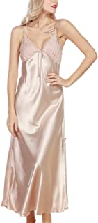 Women's Satin Nightgown Dress Silk Lace Sleeveless Long Chemise Lingerie Sleepwear