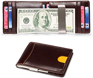 Slim Bifold Wallet for Men Money Clip Wallet with RFID Front Pocket Leather Minimalist Thin Cards Holder