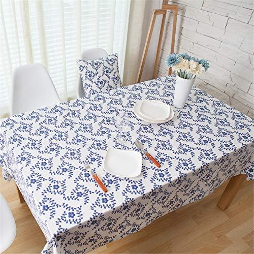 Lino De Algodón Impresión De Porcelana Azul Y Blanca Hogar Sala De Estar Cocina Mantel Rectangular Mantel para Mesa De Café Mantel para Ordenador Mantel 140x220cm