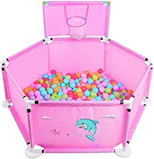 Qivor Portable Plastic Baby Playground with Shooting and 200 Balls, Rollover Prevention 6 Panel for Children Indoor/Outdoor Swimming Pool - 45 cm High (Color : Pink)