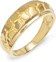 Men's Solid 10k Yellow Gold Textured Band Nugget Wedding Ring