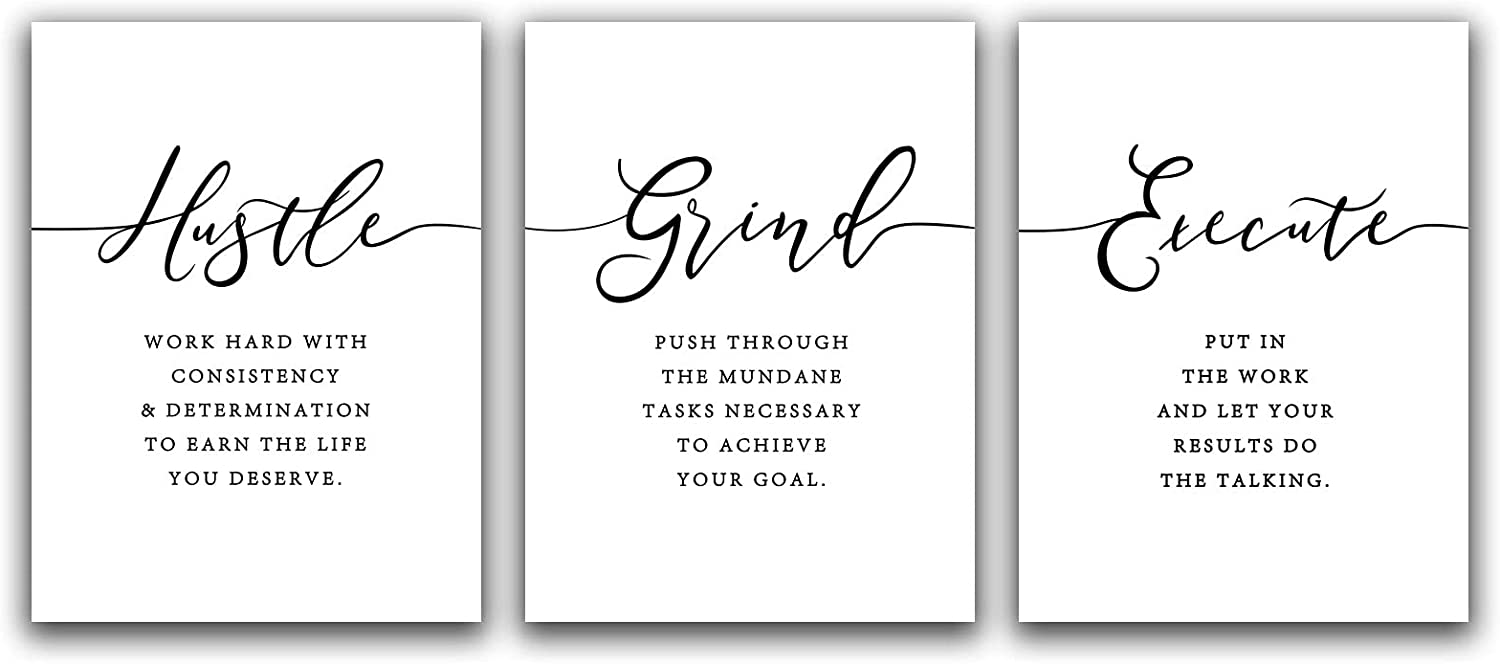 NLKTIYC Hustle Grind Execute Wall Art,Inspirational Canvas Print Wall Decor for Office Classroom,Motivational Picture Decals,Minimalist Home Office Space Present,Entrepreneur Gift,Framed Easy to Hang