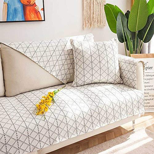 YSODFQL Cojín de sofá de algodón y lino nórdico minimalista cuatro estaciones cojín antideslizante universal perezoso hogar cuatro estaciones funda de sofá de tela elastica/D / 7