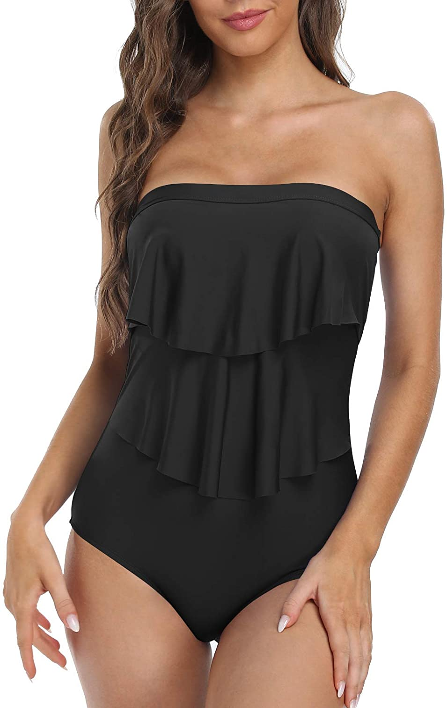 Firpearl Women's Bandeau One Piece Swimsuit Layered Ruffle Swimwear Flounce Bathing Suit