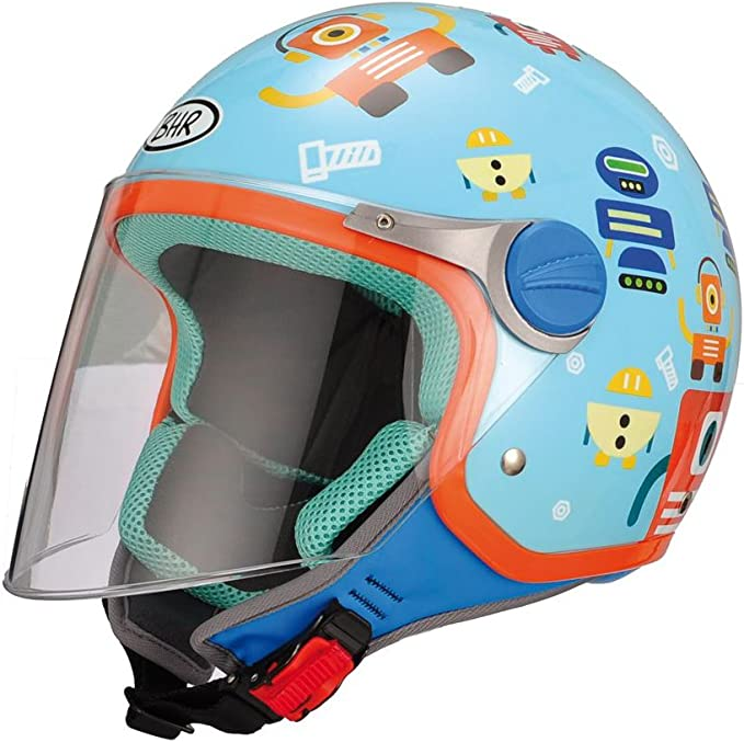 Bhr Demi Jet Kinder Motorradhelm Modell Junior 713 Farbe Hellblau Mit Robotern GrÖße Ys Auto