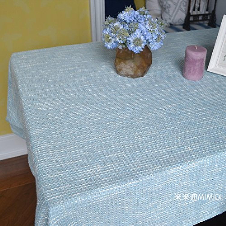 WFLJL Nappe Style européen couleur coton et lin Table à hommeger Table basse épaississeHommest bleu Rectangle 130130 cm