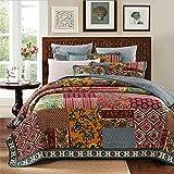Acolchado Colcha patchwork Colcha elegante lamentable Red 100% algodón edredón edredón manta Individual Doble 178x228cm cama con 1 fundas de almohada 51x70cm,259x269cm