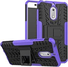 Case for Nokia 6 Case Cover,Case for Nokia 6 Arte Black Case Shockproof Mobile Phone Case Stand Purple