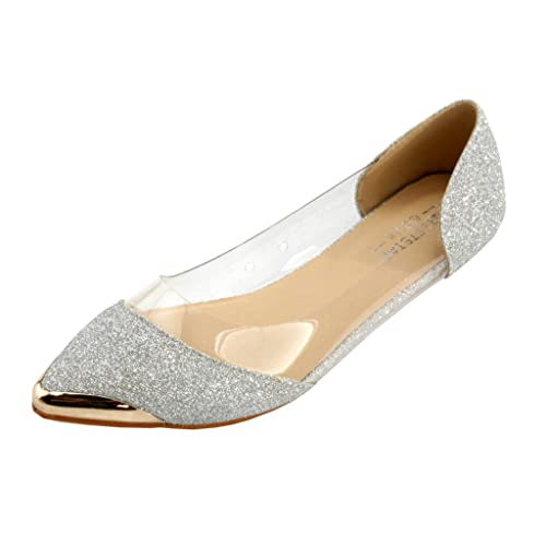 0130a301967 AgeeMi Shoes Women Pointed Toe Flats Slip On Comfort Pumps Shoes With Metal