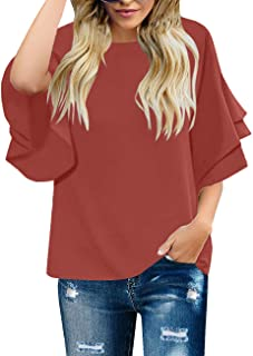 007320a0e8580d luvamia Women's Casual 3/4 Tiered Bell Sleeve Crewneck Loose Tops Blouses  Shirt
