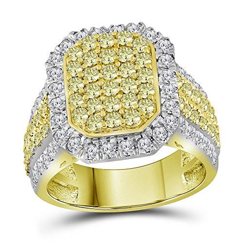 14k Yellow Gold Round Canary Yellow Diamond Rectangle Ring 2-1/3 Ct.