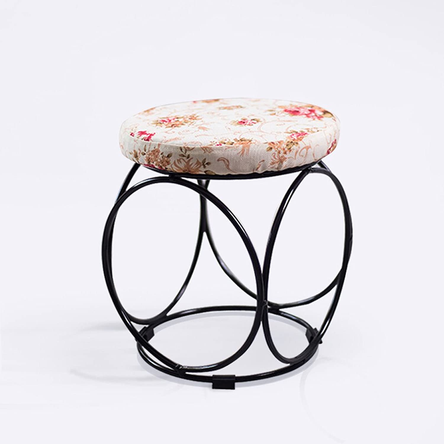 Creative Hollow Round Iron Stool, Fashion Linen Living Room Study Bedroom Home Sofa Makeup Footstool, 29  30cm