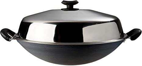 Dolphin Collection Non-Stick Chinese Wok With Stainless Steel Cover - 40Cm
