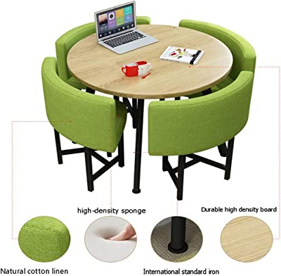 Amazon Com Home Living Room Dining Table And Chairs Balcony Kitchen Bedroom Coffee Shop Leisure Table Nordic Modern Round Table Simple Style 1 Table And 4 Chairs Hotel Meeting Room Reception Table