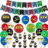 Kreatwow Decoración de Fiesta de cumpleaños de Ninja Banner de Feliz cumpleaños de Ninja 24 Adornos para Cupcakes Ninja Pegatinas para niños Ninja Warrior cumpleaños temático
