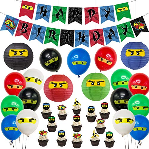 Kreatwow Ninja Geburtstagsfeier liefert Dekorationen - Ninja Happy Birthday Banner 24 Cupcake Topper Ninja Luftballons Aufkleber für Jungen Ninja Warrior Themed Birthday