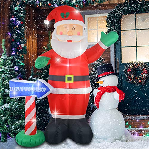 Fashionlite 8ft Christmas Inflatable Santa Claus with Santa's Workshop Sign Airblown Yard Decorations, LED Lights Blow Up Inflatables for Xmas Indoor Outdoor Home Garden Family Prop Lawn Decoration