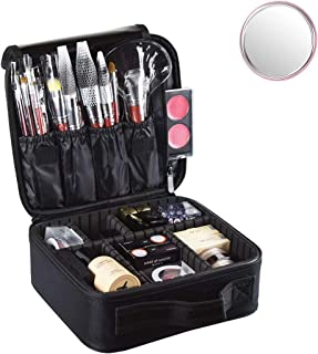 Travel Makeup Bag, Waterproof Portable Storage Cosmetic Case, Professional Makeup Organizer Bag with Adjustable Dividers, Accessories Tools Case Brush Pouch for Men Women Girls (Black)