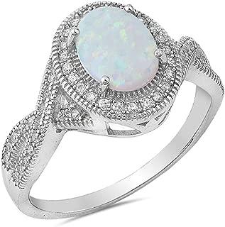 CHOOSE YOUR COLOR Sterling Silver Vintage Oval Ring