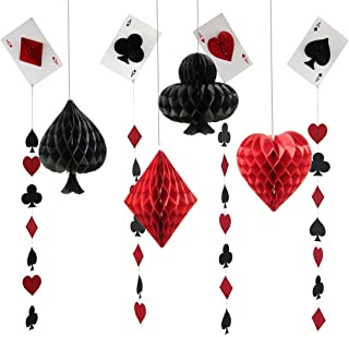 FonderMols Las Vegas Casino Party Honeycomb Paper Pom Poms and Porker Card Garlands for Wedding Birthday Kids Bridal Baby Shower Backdrop Decoration Pack of 8