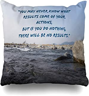 Ahawoso Throw Pillow Cover Square 20x20 Quote Words Inspiration Wisdom Ahead May Never Ji Know What Gandhi Action If Aim Bapu Bapuji Life But Decorative Zippered Cushion Case Home Decor Pillowcase