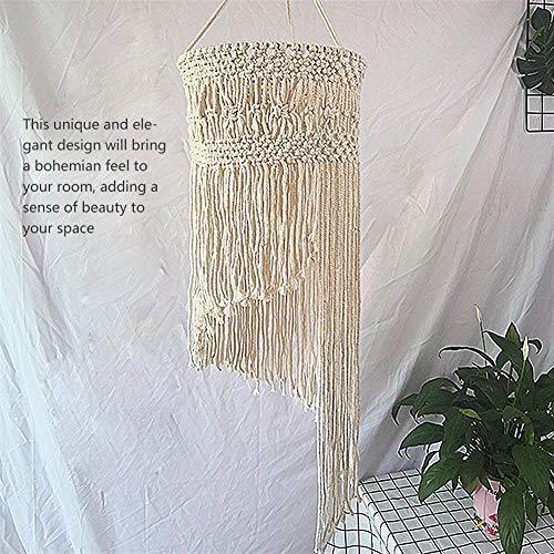 RecoverLOVE Macrame Pantalla para la luz de Techo Colgante   Boho Tejida a Mano de la Cortina de la lámpara con Macramé Tasseled   para el Partido del hogar decoración de la Boda