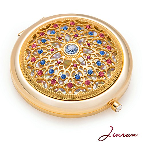 Unique Gifts For Women / 24k Gold Electroplate Makeup Mirror by Jinvun: Ultimate Luxury Round Vanity Mirror w/Diamonds/ Sturdy Travel Purse Compact Cosmetic Mirror/Folding Magnifying Beauty Mirror