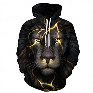 MIGAGA Men 3D Sweatshirts Print Golden Lightning Lion Hooded Hoodies Thin Tracksuits