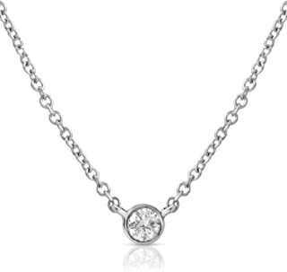 14k Gold Solitaire Bezel Set Diamond Necklace with Lobster Clasp (SI1-SI2 Clarity)