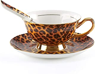 Tea Cup and Saucer Set-6.8oz Bone China Leopard Print Teacup Fine Dining and Table Decor Teacups with Saucer and Spoon For Tea Party