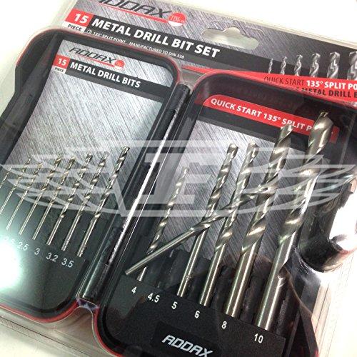 Addax 15 PCS HSS Metal Drill BIT Set 1.5mm 2mm 2.5mm 3mm 3.2mm 3.5mm 4mm 4.5mm 5mm 6mm 8mm 10mm (AK7)