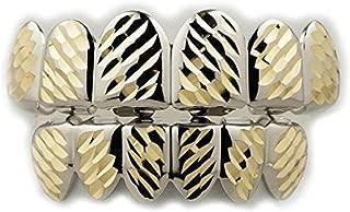 NIV'S BLING - 14k White Gold-Plated Diamond Cut 6 Tooth Grillz Set