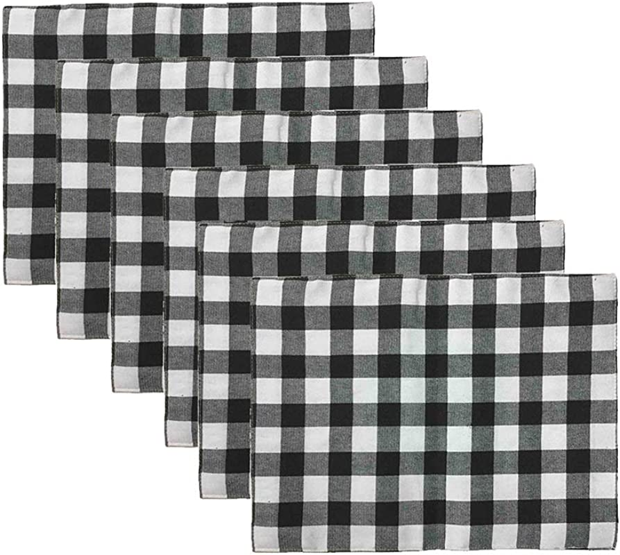Aothpher Set Of 6 Trellis Placemats Geometric Black White Checked Square Table Place Mats Buffalo For Dining Table 12x16 Inches Double Deck