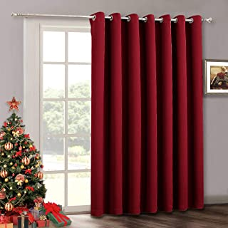 RYB HOME Vertical Blinds for Bedroom Window Curtains - Patio Sliding Door Curtains for Living Room Balcony Room Darkening Curtains Extra Wide Panelfor, 100 x 84, Burgundy Red