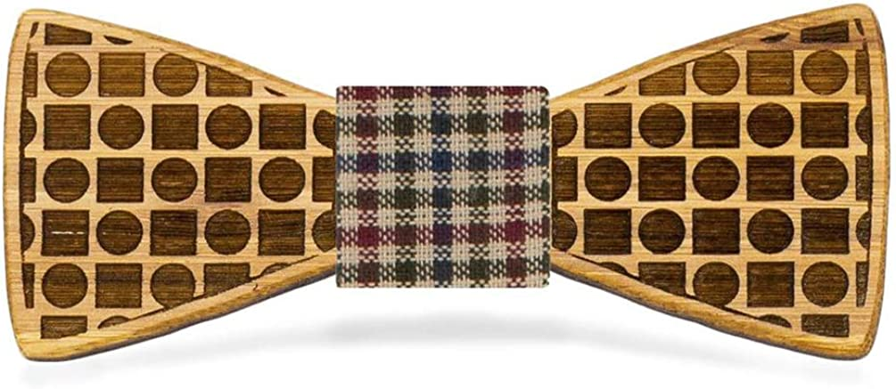 OG Studios Circles and Squares Bamboo Wood Bow Tie